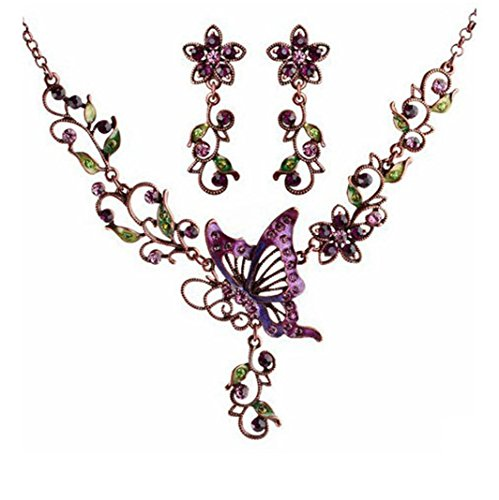 Luxury Necklace,Han Shi Elegant Vintage Butterfly Floral Necklace Earrings Jewelry Set (White, L)