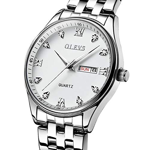 Mens Watches Stainless Steel Watch for Swimming,Casual Analog Quartz Dress Watch for Men,Waterproof Business Wrist Watch Silver Dial,Men's Diamond Watch Sale,Date and Day,White ()