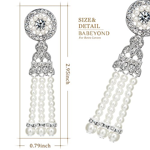 BABEYOND 1920s Flapper Art Deco Gatsby Earrings 20s Flapper Gatsby Accessories (Style 4-Silver) by BABEYOND (Image #2)