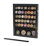 metals display case - Military Challenge Coin Display Case Cabinet Rack Shadow Box Wood, (COIN46-BL)