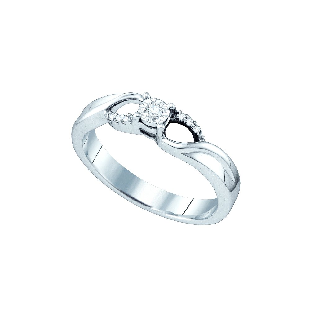 Sterling Silver Womens Round Diamond Solitaire Promise Bridal Engagement Ring 1/20 Cttw (I2-I3 clarity; J-K color)