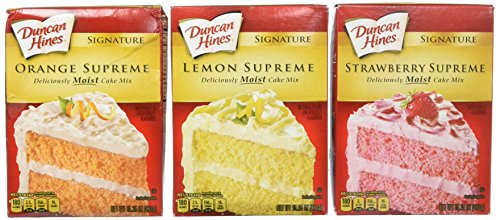 Duncan Hines Signature Cake Mix Bundle - Strawberry Supreme, Orange Supreme, Lemon Supreme 16.5oz (Pack of 3 Boxes) by Duncan Hines Signature ()