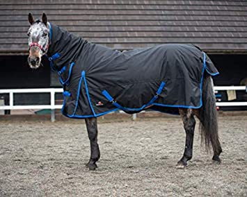 COMBO, 60 Equestrian King Heavyweight Winter Combo Turnout Horse Rug 350g Standard And Full Neck Black With Blue Binding