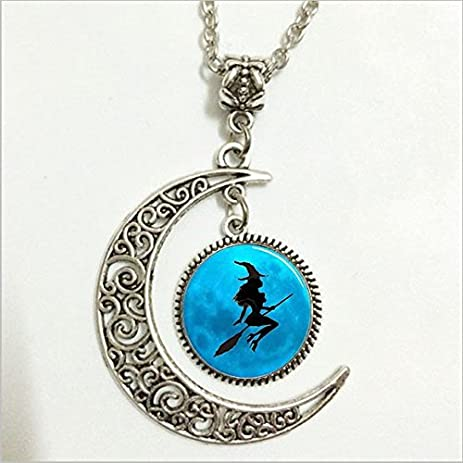 Amazon sexy witch pendantwitch necklacesexy witch moon sexy witch pendantwitch necklacesexy witch moon jewelrymoon necklace glass art aloadofball Gallery