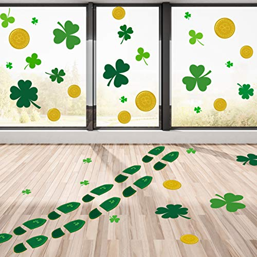 Whaline 24 Pairs St. Patrick's Day Leprechaun Footprints Floor Decals, 20 Pieces Shamrock Good Luck Coins and 52 Clover Wall Decal Window Stickers Party Decorations (8 Sheet) -