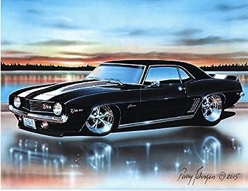 Amazon Com 1969 Chevy Camaro Z28 Coupe Muscle Car Art Print Black