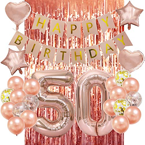 Decoration For 50 Birthday (Rose Gold 50th Birthday Decorations-Happy 50th Birthday Decorations 50 Party Decorations for Women)