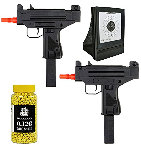 A&N Airsoft Bundle Deal-2X Fully Automatic Airsoft Electric Mini Rifles - Airsoft Target- Pack of 2000 Yellow BB Pellets