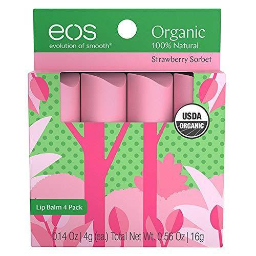 eos Natural & Organic Stick Lip Balm   Strawberry Sorbet   Certified Organic & 100% Natural   0.14 oz.   4-Pack