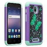 Alcatel OneTouch Pixi Bond / Pixi Avion 4G LTE / Dawn / Streak / Ideal / Acquire Case, SOGA [Jewel Gem Series] Diamond Bling Protective Case - Green Butterfly / Teal