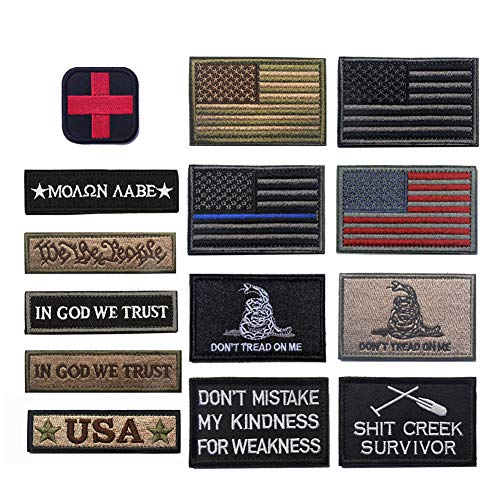 R.SASR Bundle 14 Pieces American Flag Tactical Military Morale Patch Set (Mixed 14 Pieces)