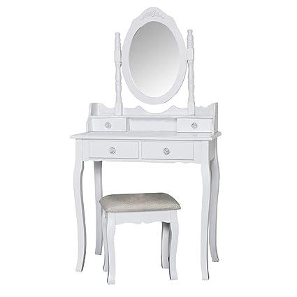 new style 569b4 236b4 Melody Maison White Dressing Table, Stool & Mirror Set ...