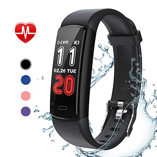 goopow Fitness Tracker HR, Activity Trackers with Heart Rate Monitor, Sleep Monitor, Step Counter, Calorie Counter, Distance, Phone Finder, Waterproof Smart Fitness Watch for Kids Women Men