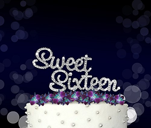 Sweet Sixteen, Birthday Cake Topper, Crystal Rhinestones on Silver Metal, Party Decorations, Favors Sweet 16 Birthday Centerpieces