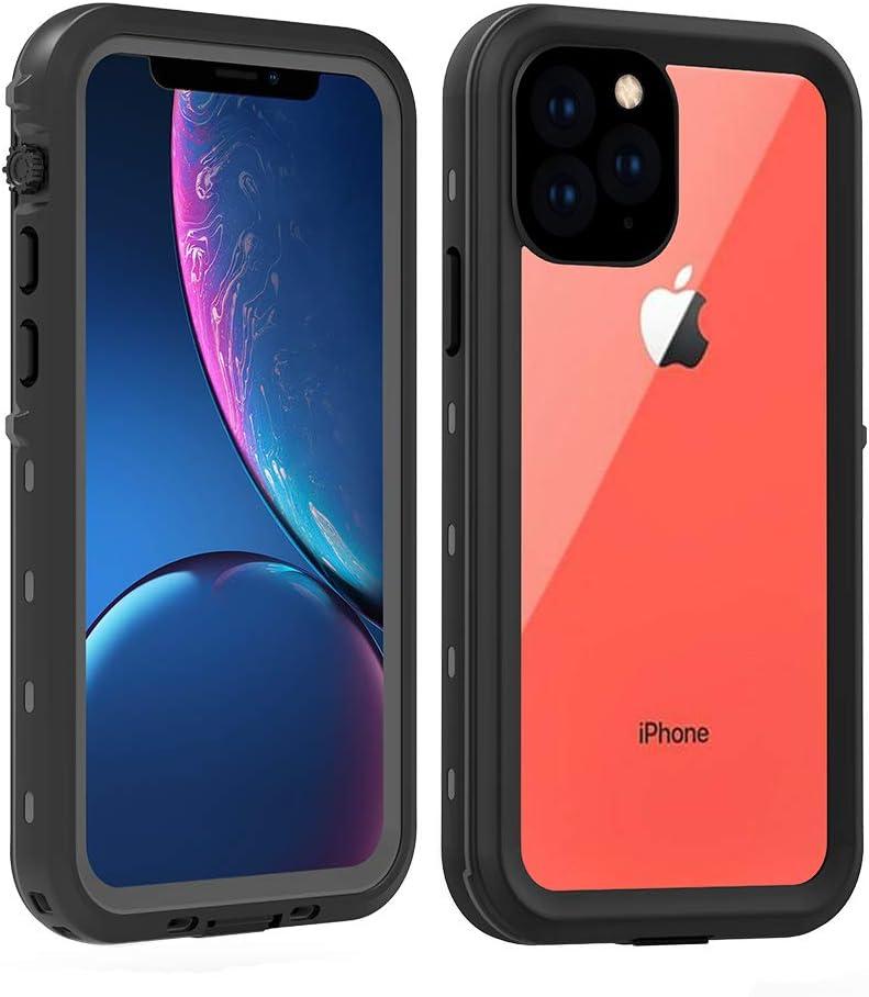 iPhone 11 Pro Waterproof Case, IP68 Certified Full Body Sealed Waterproof Shockproof Snowproof Dirtproof Underwater Protective Case for iPhone 11 Pro (5.8 Inch, 2019) (Clear-Black)