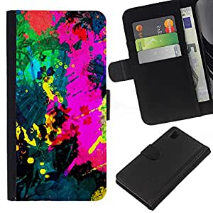 KLONGSHOP // Tirón de la caja Cartera de cuero con ranuras para tarjetas - Colorfol brillante Pintura Moderna Splash Paint - Sony Xperia Z1 L39 //