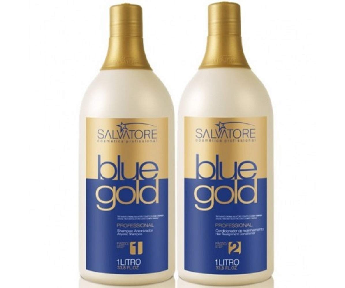 Salvatore Blue Gold Hair Straightening | Brazilian Keratin Treatment 2L by Blue Gold (Image #1)