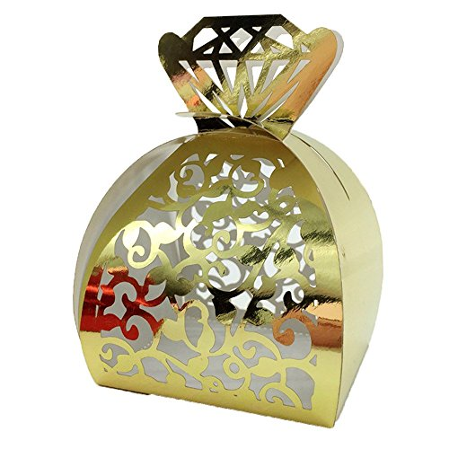 WOMHOPE® 50 Pcs - Jewelry Lock Vine Hollow Laser Cut Roses Flowers Wedding Candy Box Chocolate Candy Wrappers Holders Party Favors for Bridal Shower,Wedding,Party,Birthday Gift (Gold (Reflect light))