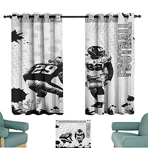 WinfreyDecor Sports Thermal Curtains Grungy American Football Image International Team World Cup Kick Play Speed Victory 70%-80% Light Shading, 2 Panels,55