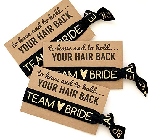 - To Have & To Hold Your Hair Back Favors | Team Bride | Bachelorette Hair Tie Favors (Black)