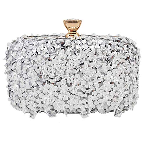Pink Silver Gold Crystal Beaded Clutch Party Purse Bridal Handbags Evening Bags Messenger Shoulder Bags,Silver