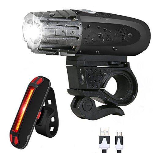McDoo! Bike Light Set, USB Rechargeable Bicycle LED Headlights and Tail Lights for Mountain Bike and Road Ultra Bright Front Lights Rear Lights Bike Waterproof Warning Lights for Cycling Camping Review