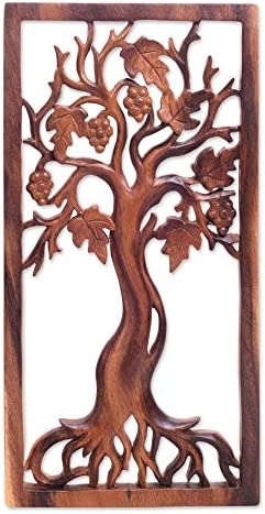 NOVICA Leaf and Tree Large Wood Wall Sculpture