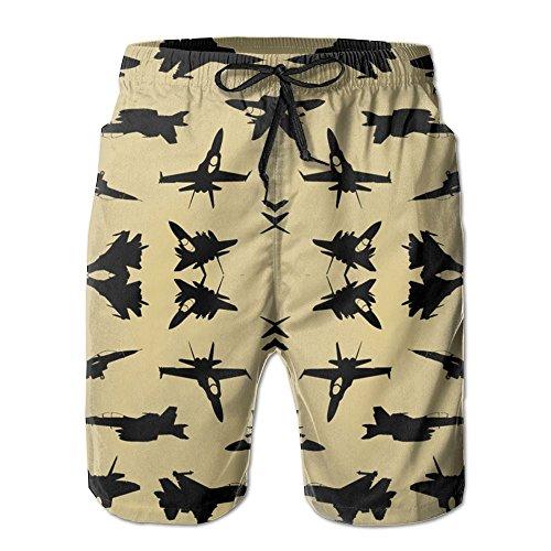 3D Print Fighter Jets On Tan Large Wallpaper (6097) Shorts Fast Dry Beach Board Shorts Men's Swim Trunks