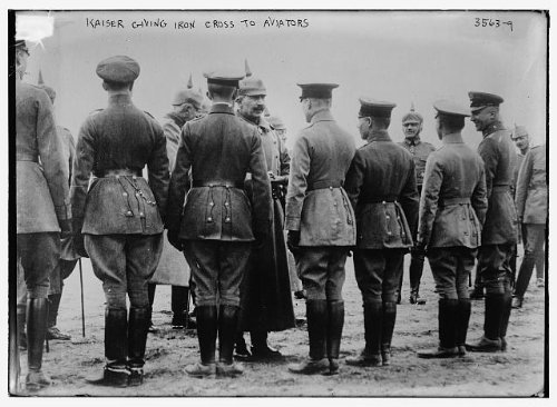 1914 Photo Kaiser giving iron cross to aviators Kaiser Wilhelm II of Germany (1859-1941) giving iron cross medal to aviators during World War I. (Source: Flickr Commons project, 2012) - 1914 Iron Cross