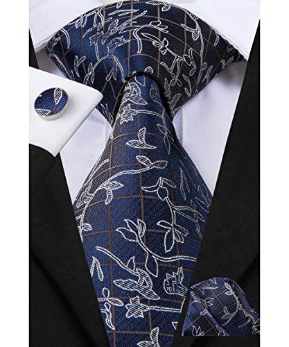 Dubulle Mens Navy Necktie Designer Ties for Men Set with Pocket Square Cufflinks