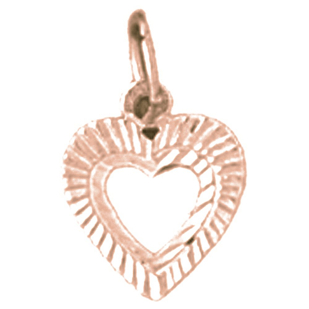 13 mm Jewels Obsession Solid 14K Rose Gold Heart Pendant