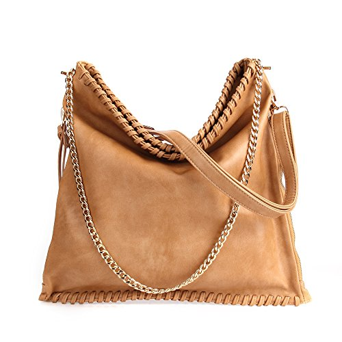Fashion Khaki Capacity Bags Bags LWK Handbags Leather Women PU 284 Tote Women Shoulder Hobo Handbags for Large wUaUE8q