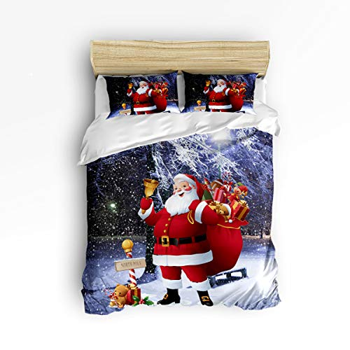 EZON-CH 3 Piece Duvet Cover Set Twill Plush Soft Bedding Sets,Merry Chirstmas Santa Claus Pattern Comforter Cover Sets for Kids Adults,Include 1 Comforter Cover and 2 Pillow Shams,Full Size from EZON-CH