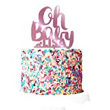 P Lab Personalized Oh Baby! Welcome Baby Party Baby Shower Cake Topper Acrylic Decoration for Special Event Pink Mirror