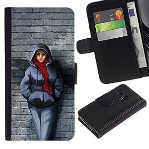 """Samsung Galaxy S3 MINI / i8190 (Not For Galaxy S3) , la tarjeta de Crédito Slots PU Funda de cuero Monedero caso cubierta de piel ("""" Brick Wall Scarf Winter Outfit City Style Girl"""")"""