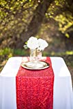 LQIAO Glitter 18PCS 14x108in-Sequin Table Runner-Sparkly Wedding Party Dining Kitchen Table Linens DIY, Red
