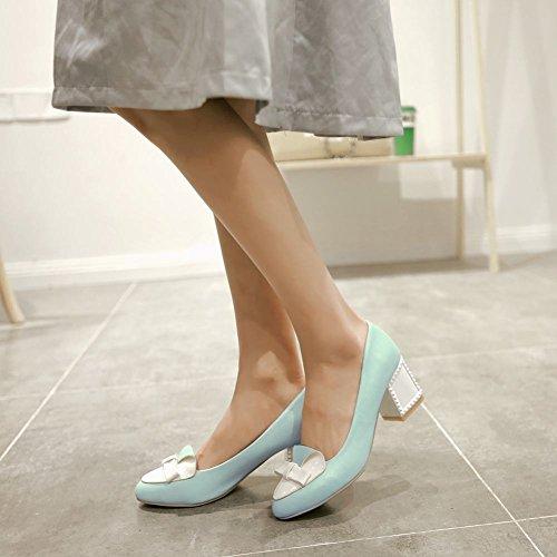 MissSaSa Damen modern Chunky heel Pointed Toe Pumps mit Schleife und Nieten assorted colors Blockabsatz Kleidschuhe Blau