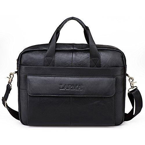 Men's Classic Top Cow Genuine Leather Business Handbag Briefcase Shoulder Messenger Satchel Bag For Laptop Macbook (Black) by LARMA