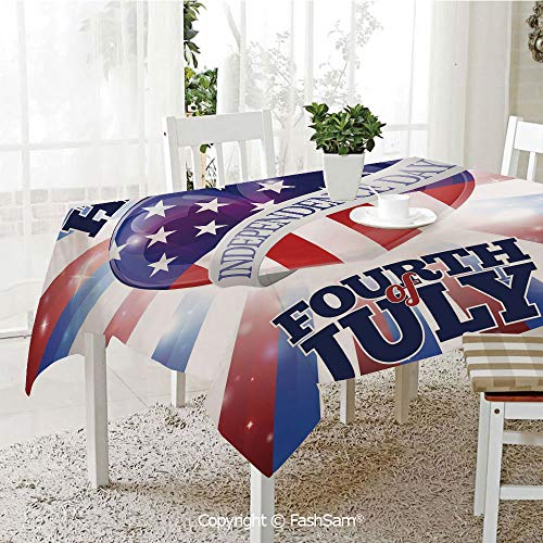 (FashSam 3D Print Table Cloths Cover Cute Little Bulldog Puppy Waving US Flag and Hat Celebrating Artsy Picture Waterproof Stain Resistant Table Toppers(W55 xL72))