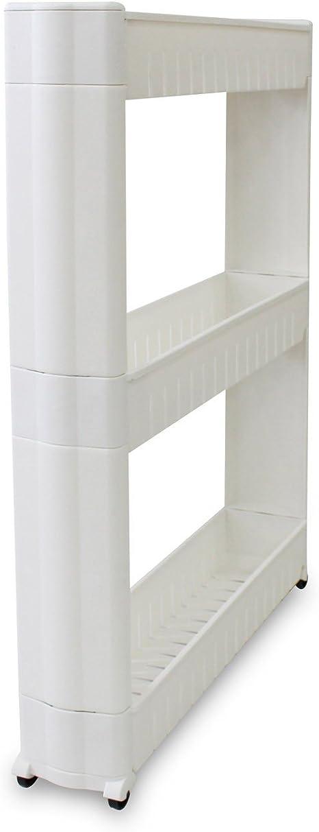 Todeco étagère à Roues Meuble De Rangement Avec Roues Matériau Plastique Poids 179 Kg 3 Compartiments 78 X 54 X 12 Cm Blanc
