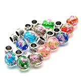 So Beauty 10 pcs Flower Lampwork Glass Pendant DIY Dangle Beads for Bracelets Necklace