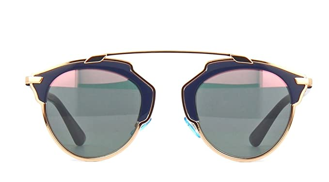 d2834eb028caa Amazon.com  New Christian Dior SO REAL U5W ZJ Gold Copper Blue Blue Rose  Gold Sunglasses  Clothing