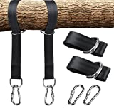 ZivaTech Tree Swing Straps(5FT), Tree Swing Strap with Carry Pouch & 2 Safety Lock Carabiner Hooks Swing and Hammock Straps Hanging Kit