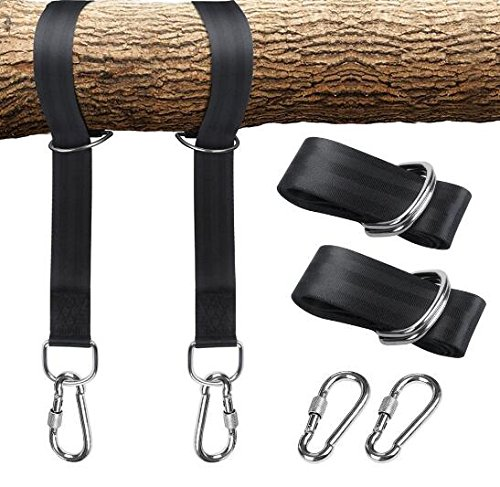 ZivaTech Tree Swing Straps(5FT), Tree Swing Strap with Carry Pouch & 2 Safety Lock Carabiner Hooks Swing and Hammock Straps Hanging Kit by ZivaTech