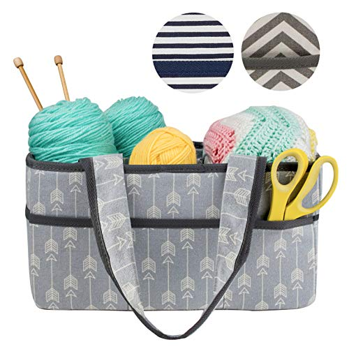 Craft Yarn Cream - Premium Craft Caddy by Little Grey Rabbit | Knitting Storage Bin & Organizer Basket | Holds Yarn, Needles, Tape, More | Perfect Gift | Gray and Cream Arrow (Arrow)