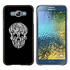 Caucho caso de Shell duro de la cubierta de accesorios de protección BY RAYDREAMMM - Samsung Galaxy E7 E700 - Tipografía cráneo Ilustración