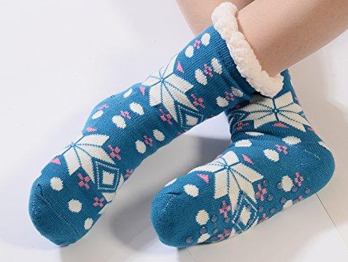 WYLSY , Damen Hausschuhe Snowflake Blue