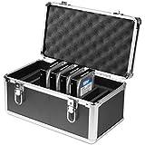 Salcar Coffret en aluminium pour disque dur 10*3,5'' HDD/SDD Valise Protection Coffret Housse Boîtier pour Disques Durs Noir