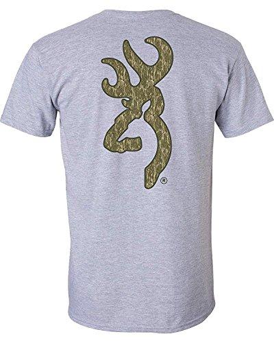Browning Men's Standard T-Shirt, Sport Gray/Mossy Oak Bottomland, Medium from Browning