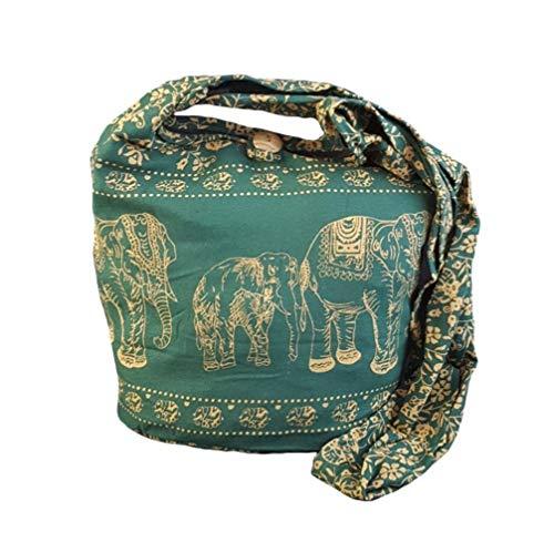 BTP! Elephant Sling Crossbody Shoulder Bag Purse Hippie Hobo Thai Cotton Gypsy Small Evergreen ME4